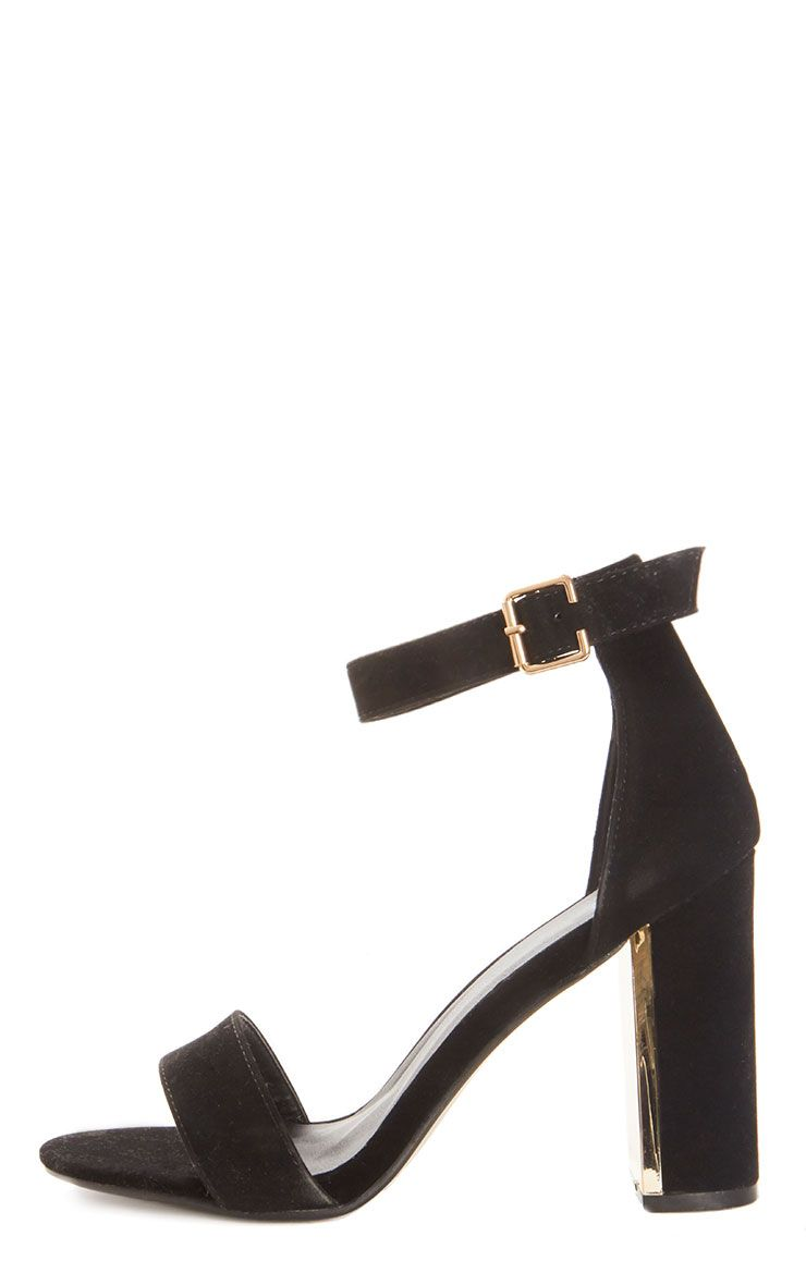 Olivia Black Suede Gold Trim Block Heeled Sandal  1