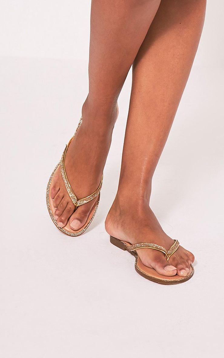 Ashlea Gold Diamante Flip Flops