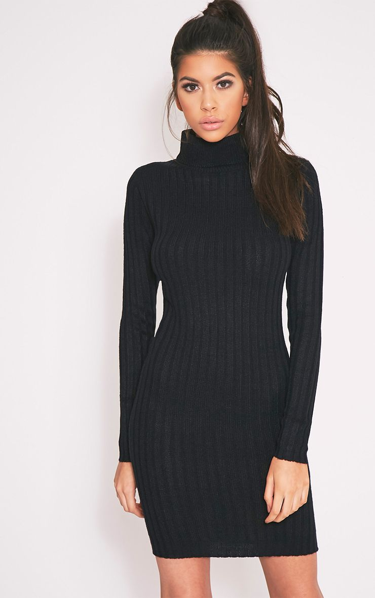 Bianca Black Ribbed Roll Neck Knitted Dress