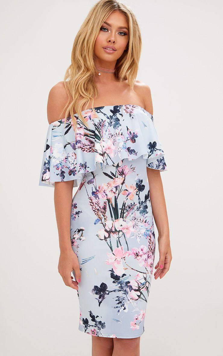 Dusty Blue Floral Bardot Frill Midi Dress
