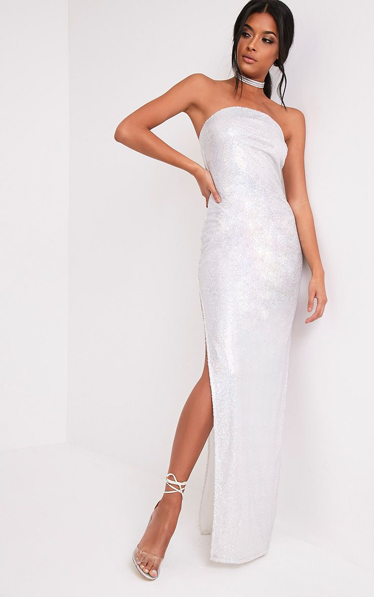 Kathie Silver Bandeau Sequin Maxi Dress