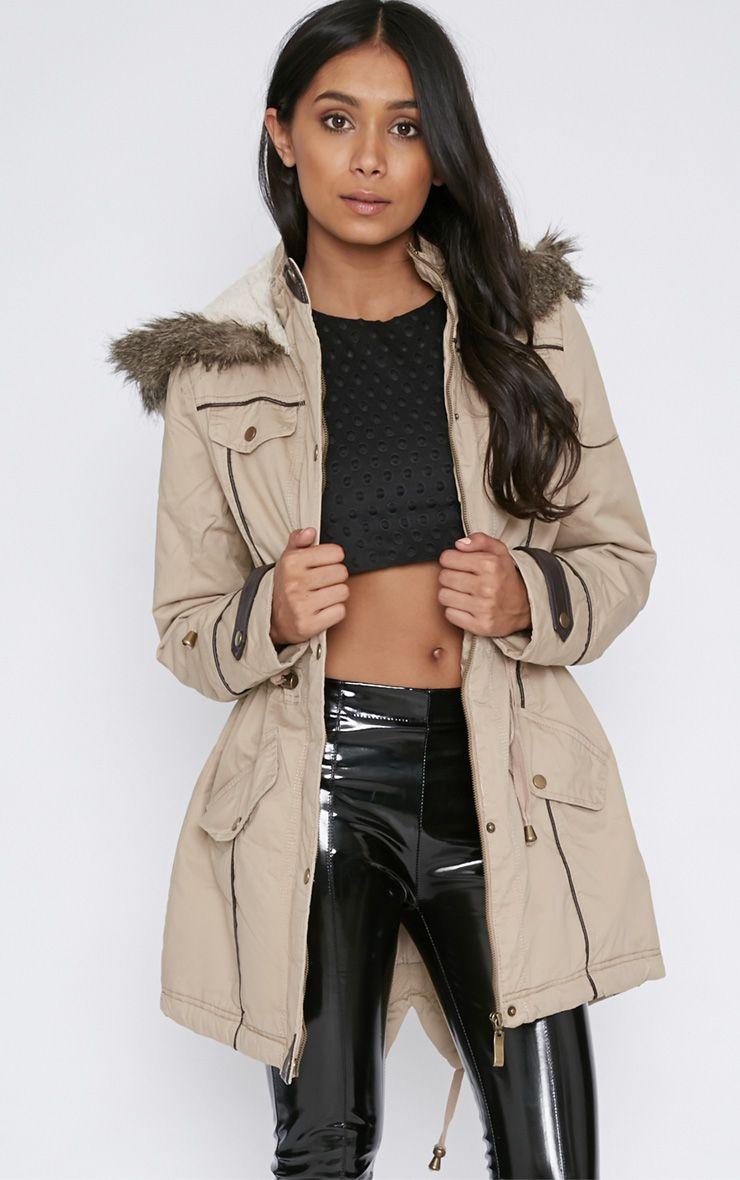 Chiara Beige Parka With Fur Hood  1
