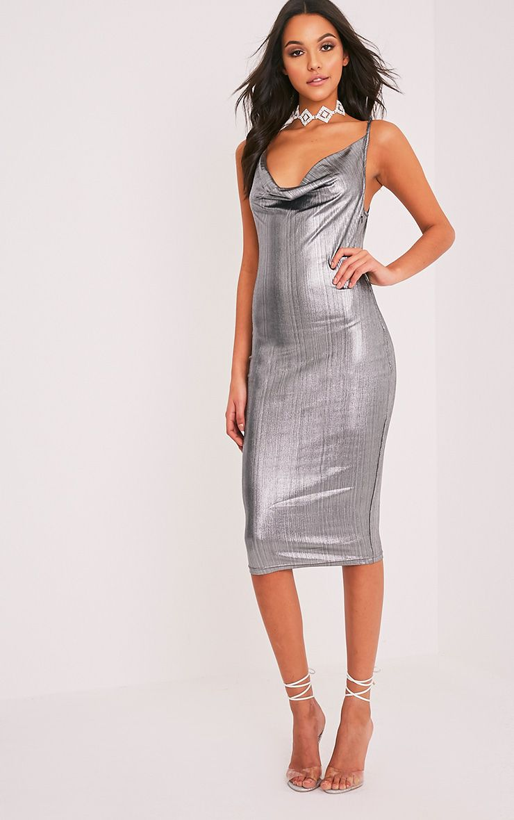 Cotti Silver Cowl Neck Lurex Midi Dress 1