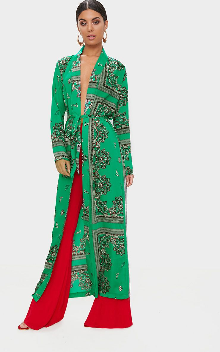 Green Silky Paisley Duster Coat