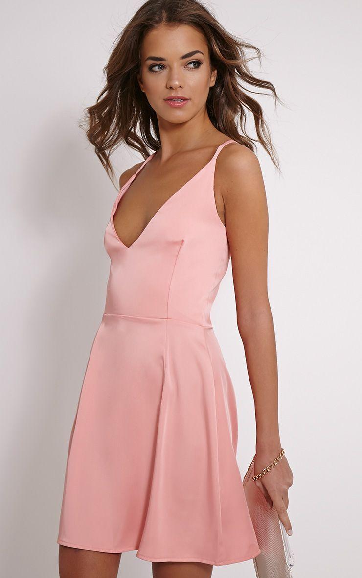 Lamara Pink Satin Skater Dress 1