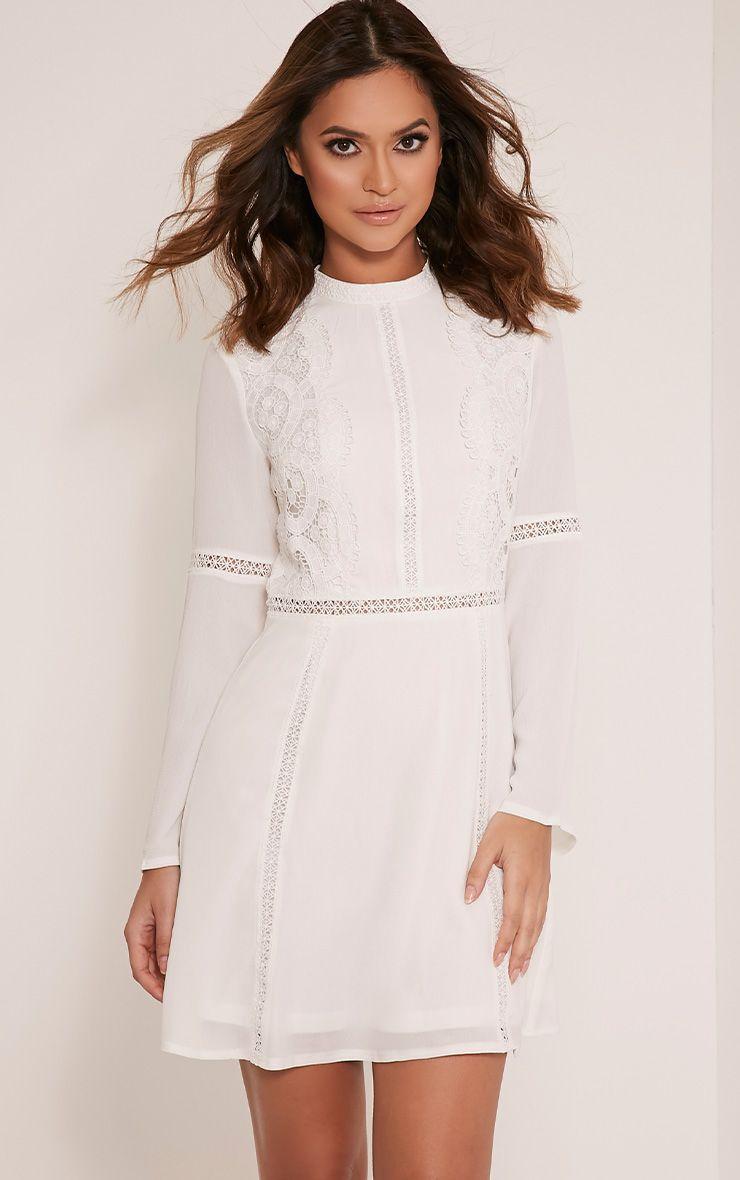 Sian White Lace Detail Skater Dress 1