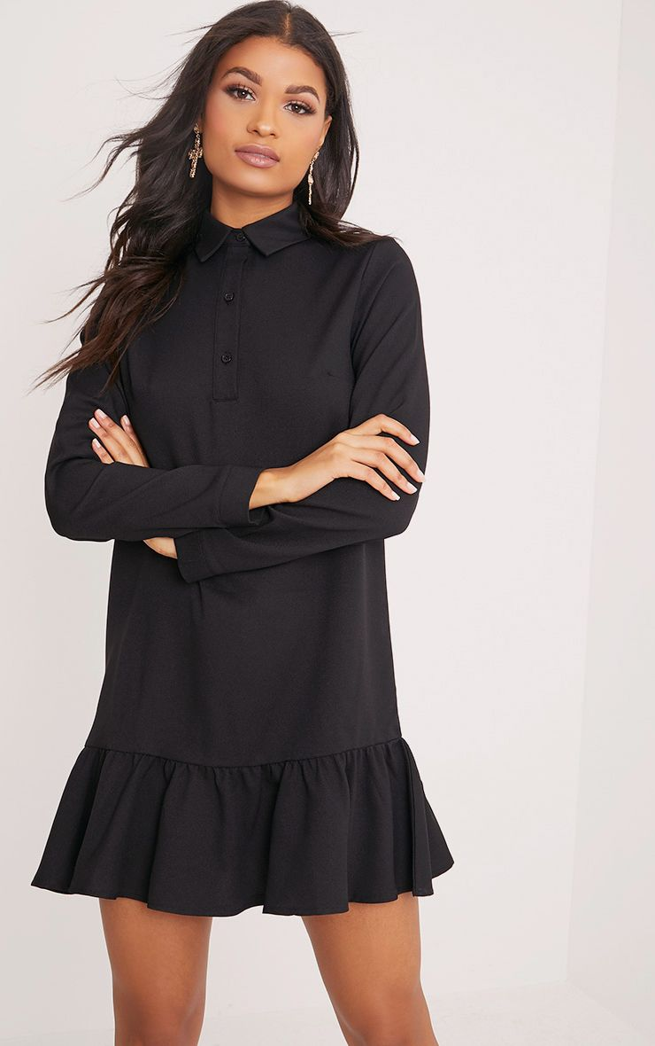 Kiera Black Frill Hem Shirt Dress