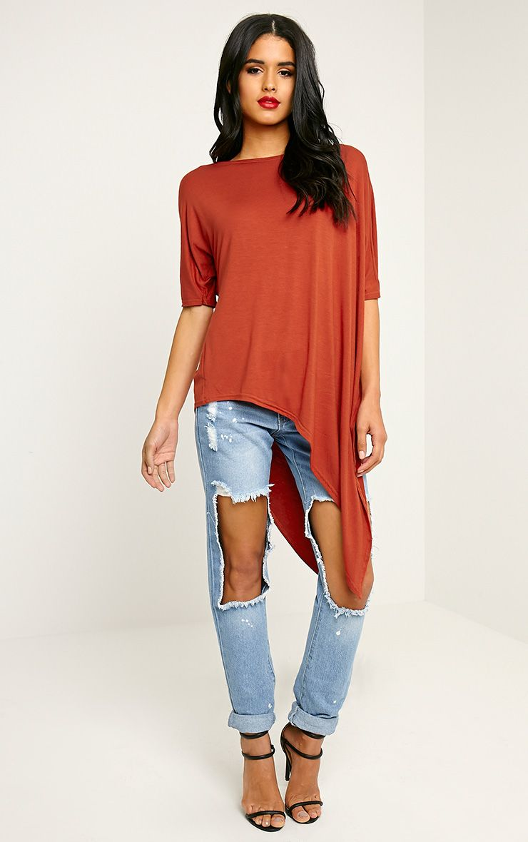 Basic Rust Asymmetric T Shirt 1