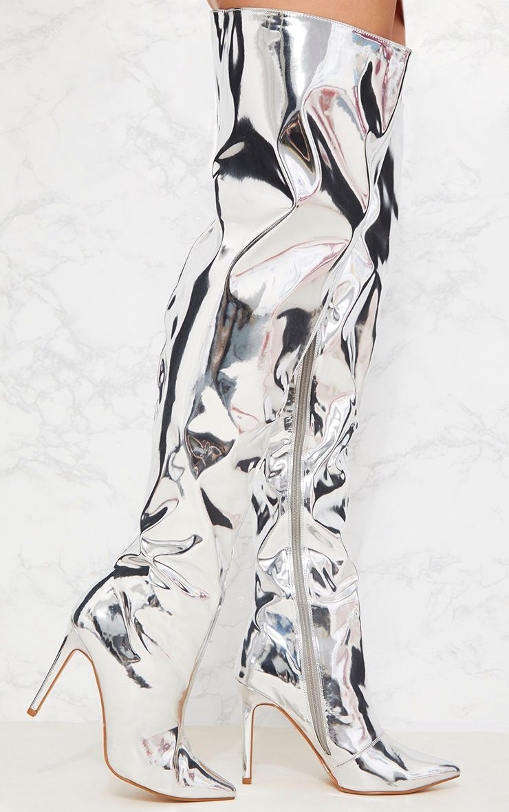 Silver Metallic Thigh High Boot
