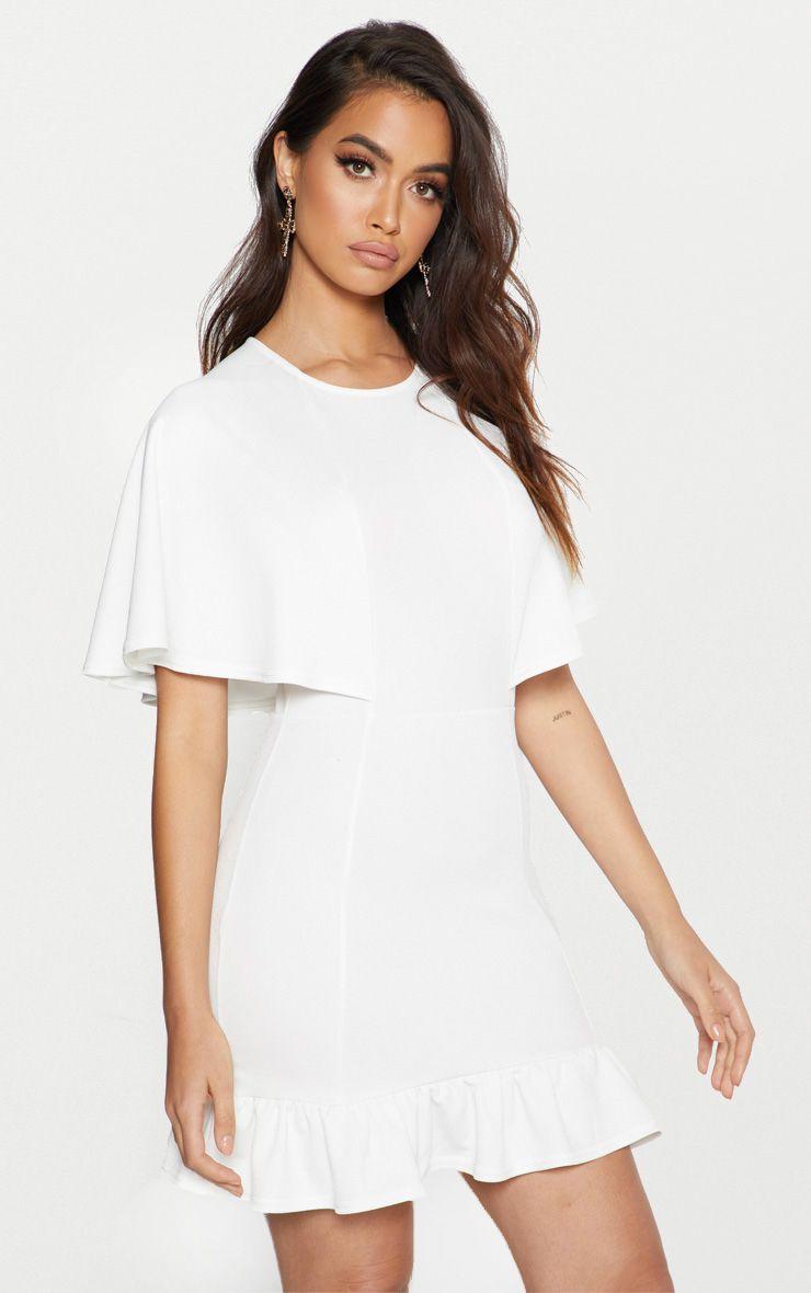 White Cape Detail Frill Hem Bodycon Dress
