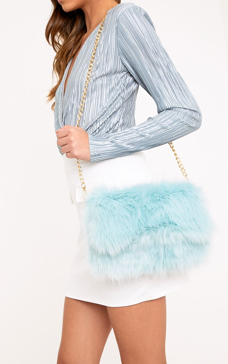 Kylah Ice Blue Faux Fur Clutch Bag