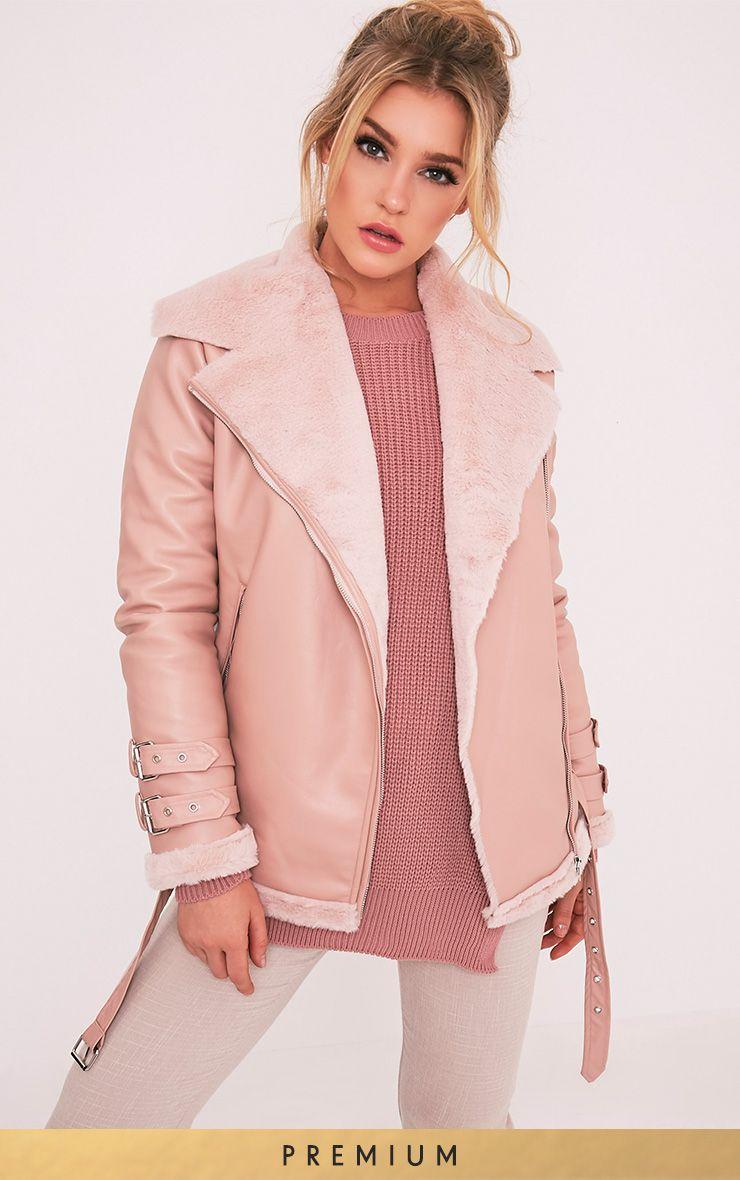 Liane Pink Faux Fur Lined Aviator 1