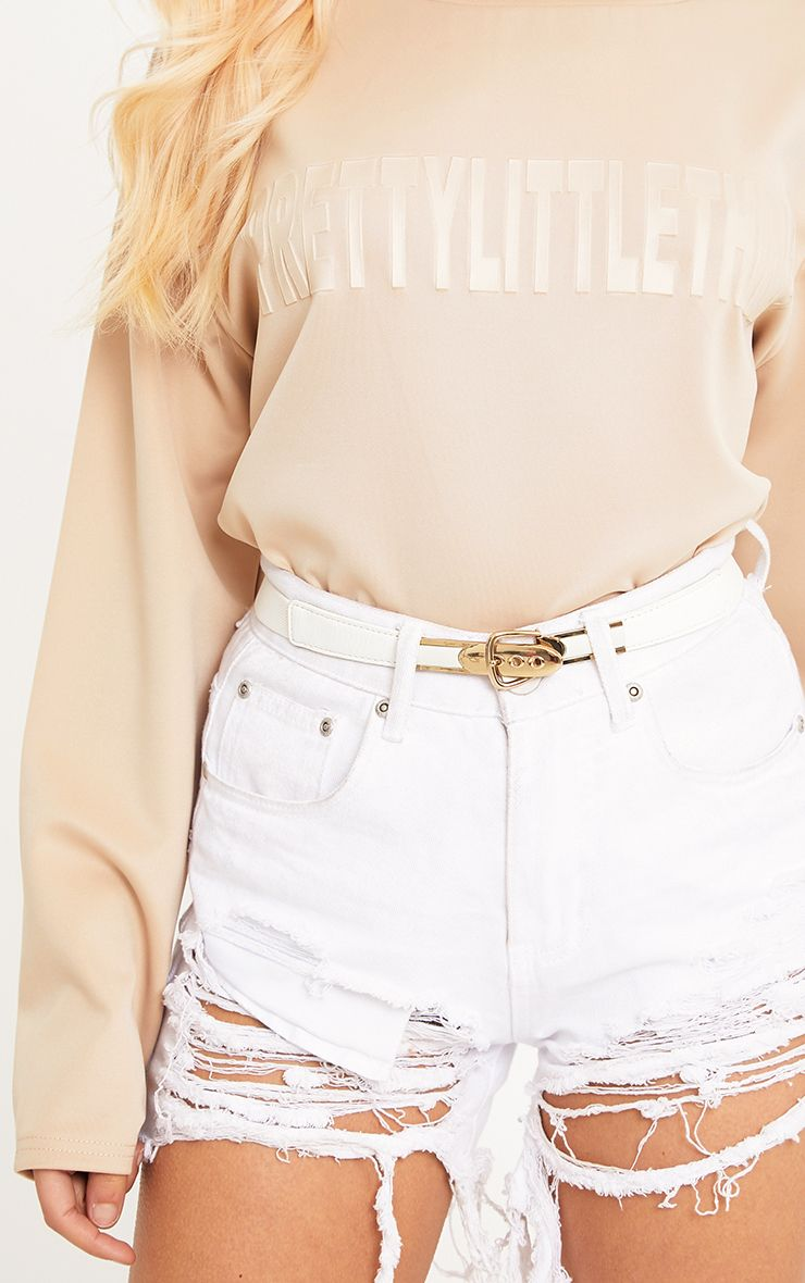 Lucile Cream Gold Buckle Skinny Belt