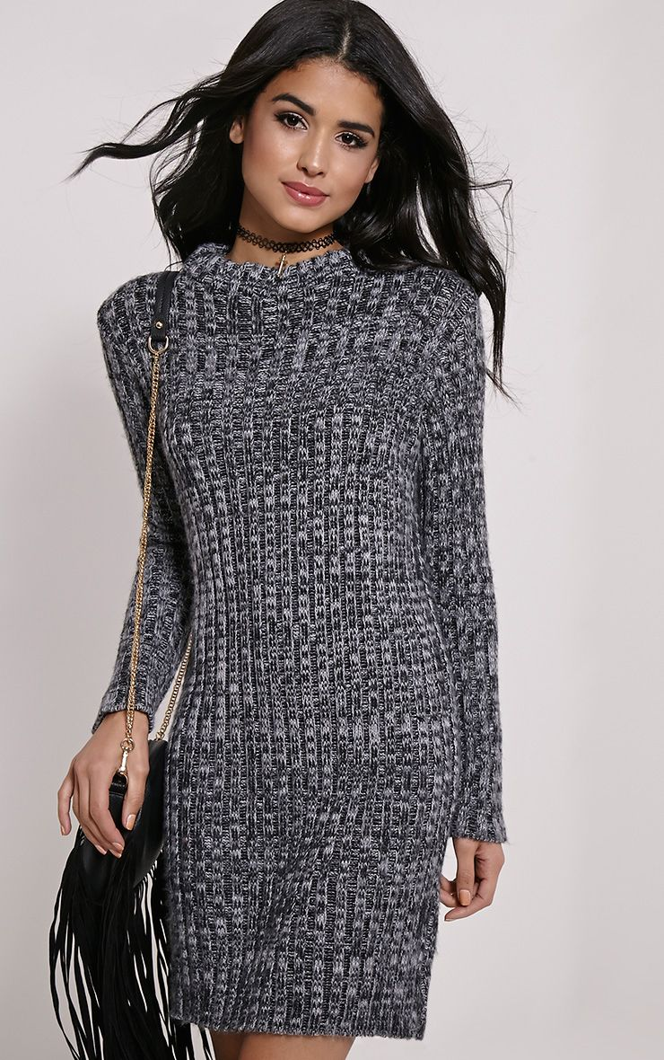 Kirby Grey Marl Long Sleeve Knitted Dress 1