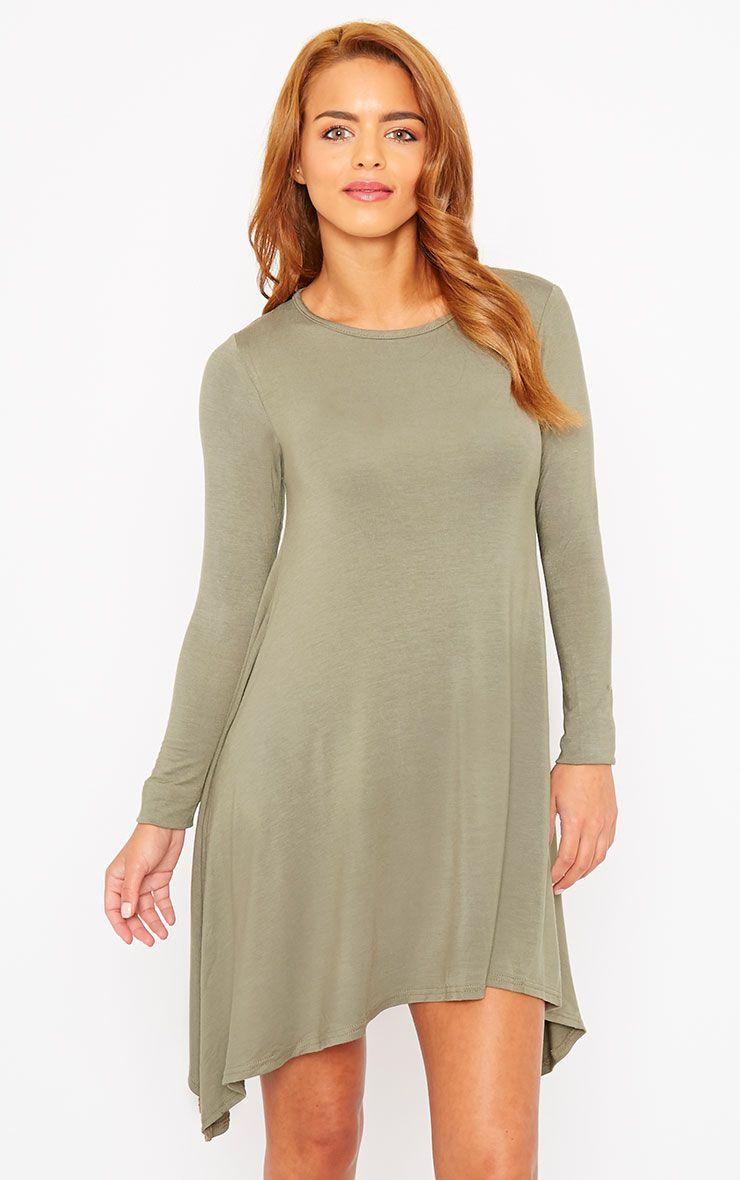 Basic Khaki Swing Dress 1