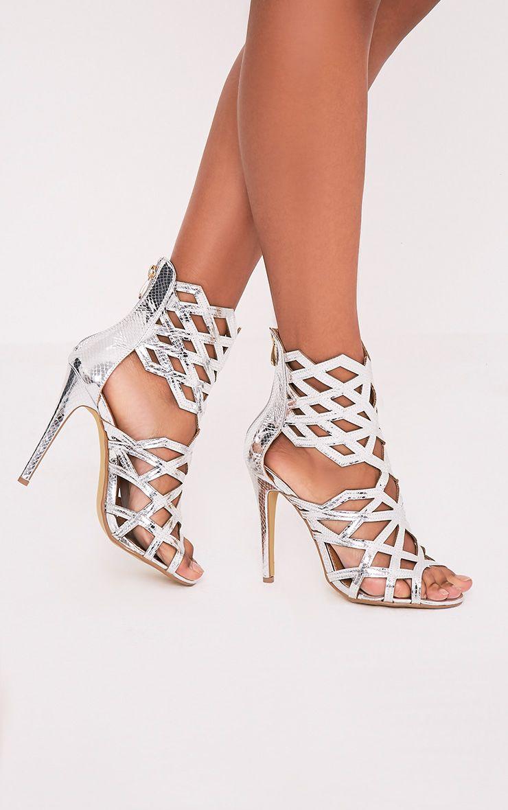 Derica Silver Metallic Honeycomb Heels