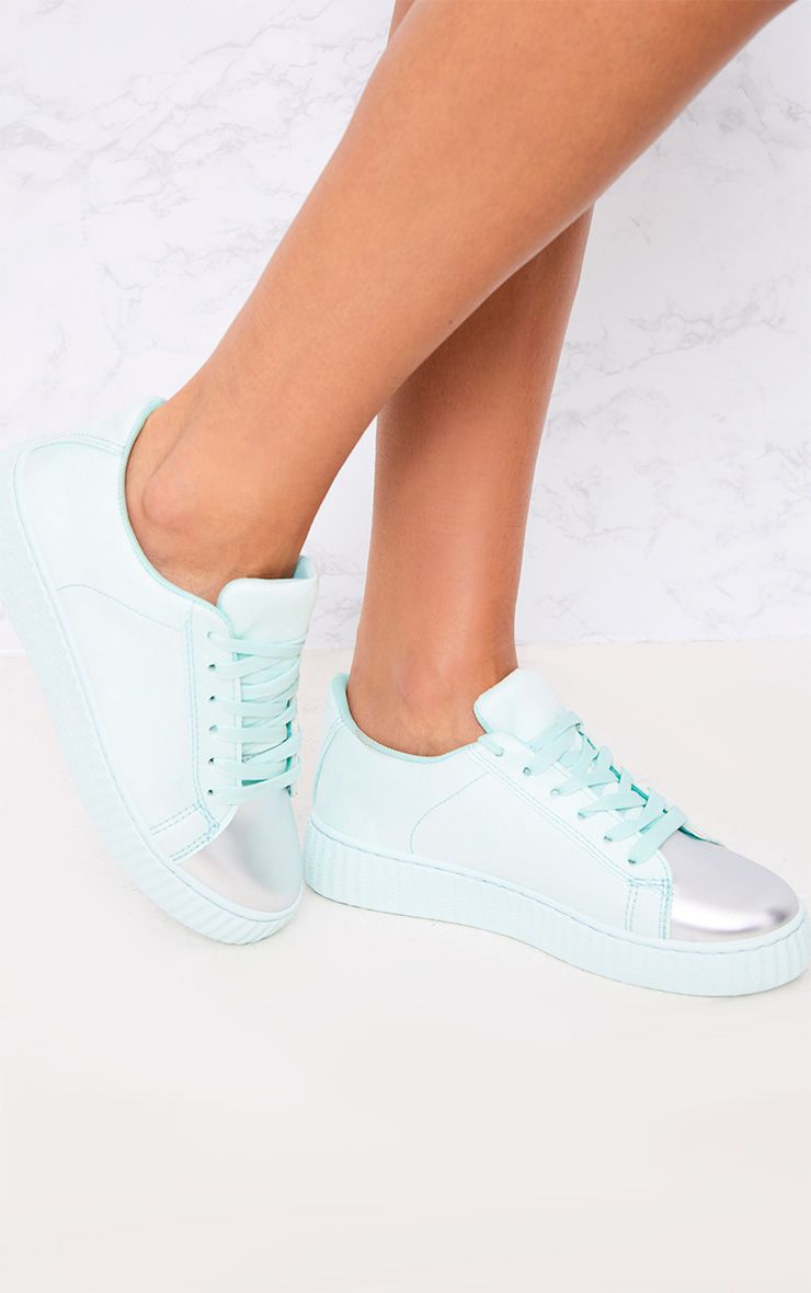 Amera Mint Faux Suede Trainers