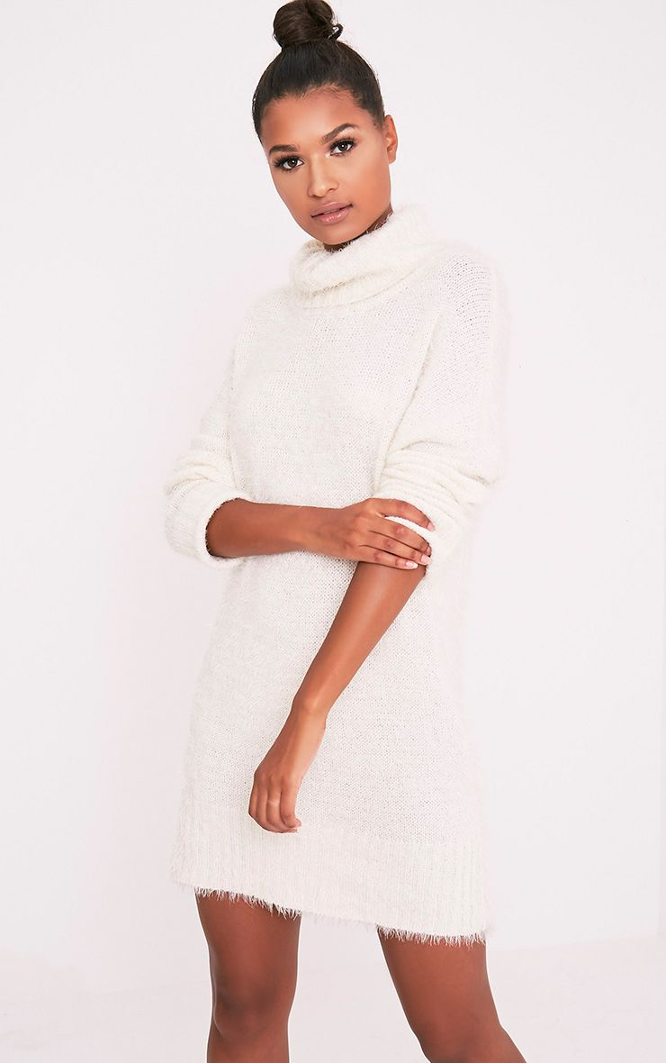 Fontaine robe pull surdimensionnée crème en mohair 4