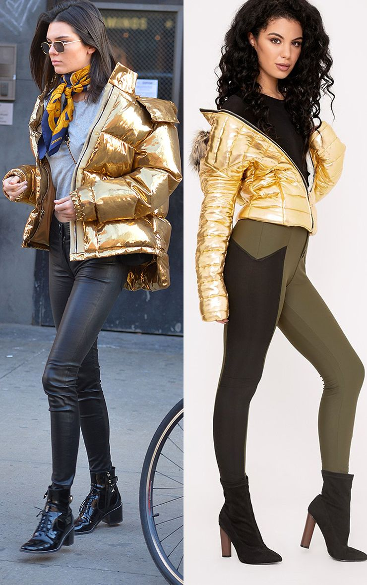 Effie Gold Metallic Padded Puffa Jacket
