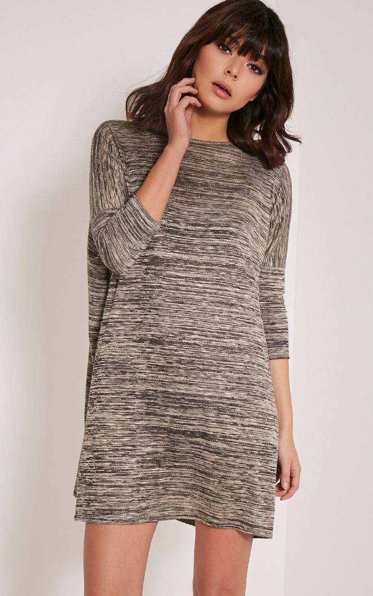 Marlia Taupe Marl Oversized T-Shirt Dress 1