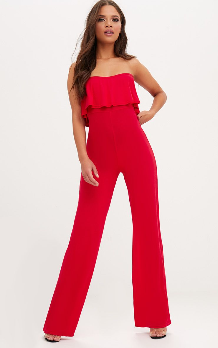 Red Jersey Bandeau Frill Jumpsuit