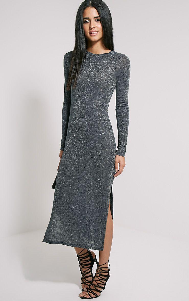 Ivria Navy Side Split Knitted Dress 1