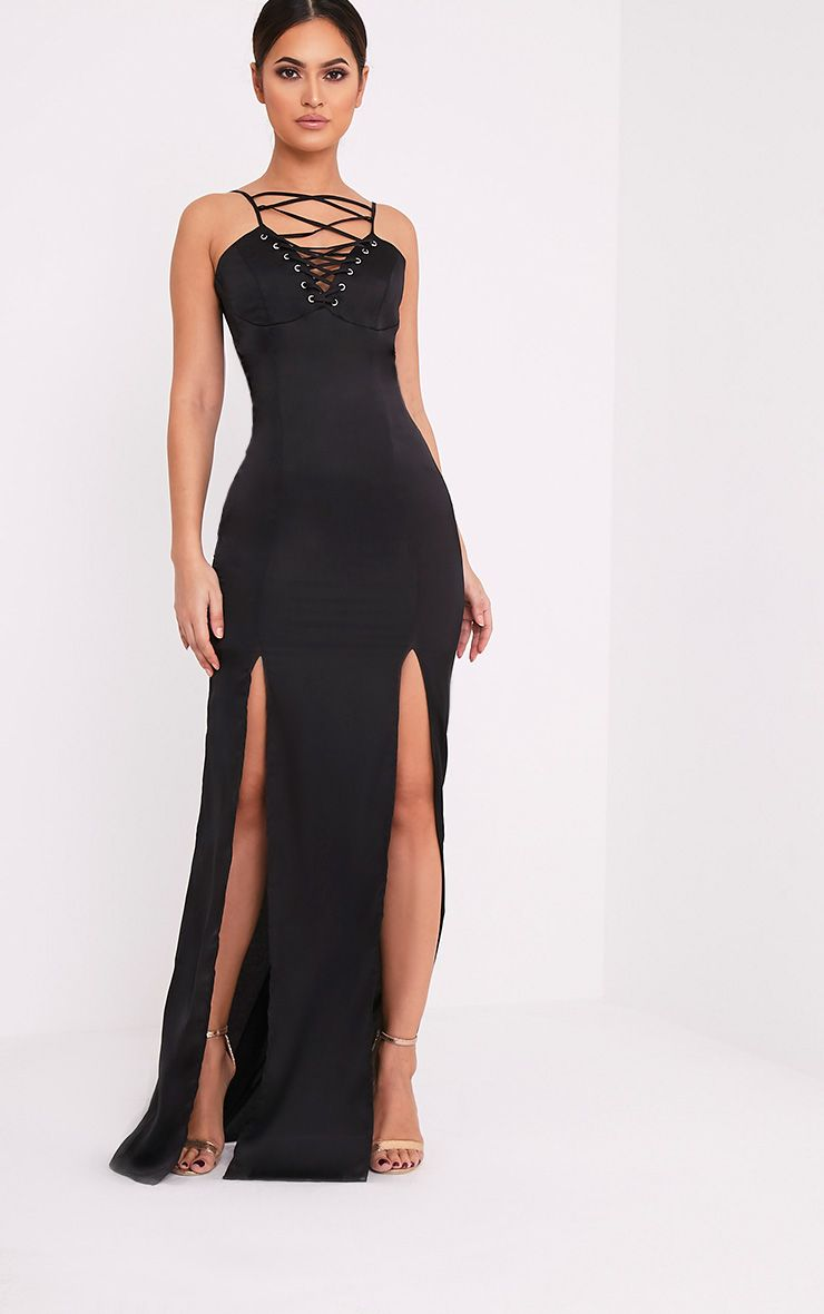 Kiria Black Lace Up Satin Maxi Dress