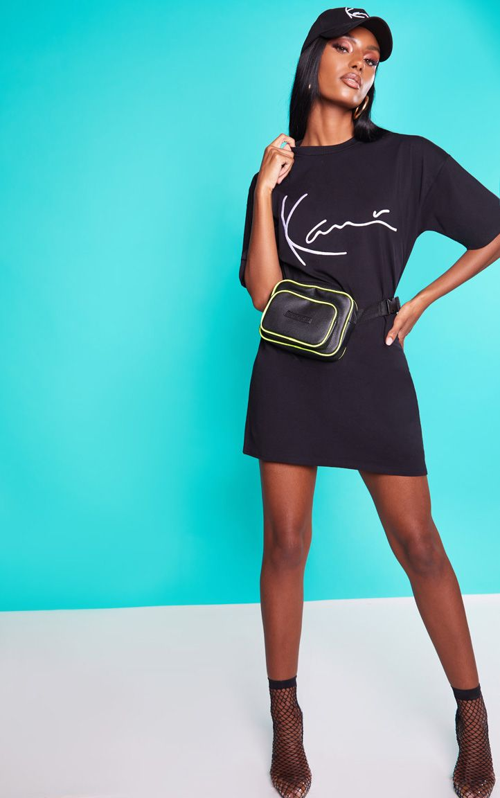 KARL KANI Black Embroidered T Shirt Dress