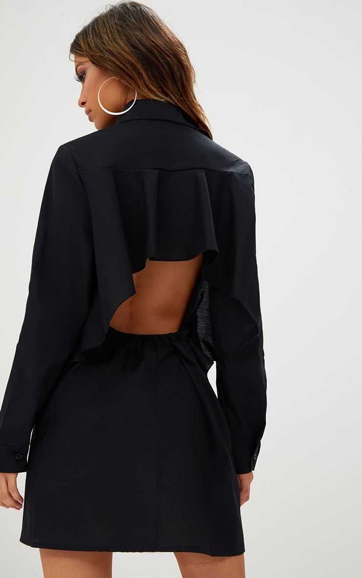 Black Open Frill Back Shirt Dress