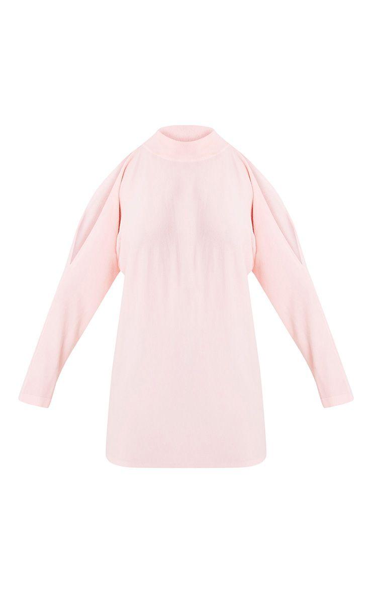 Shela pull rose pâle tricoté fin à épaules découvertes 3