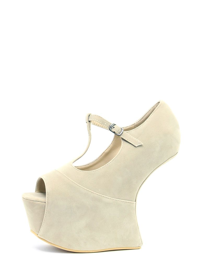 Tegan Beige Cut Out Wedge 1
