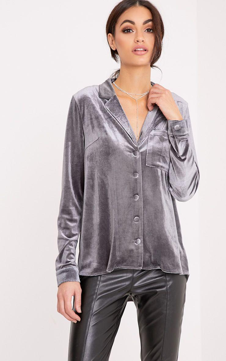 Clara Grey Velvet Pyjama Style Shirt