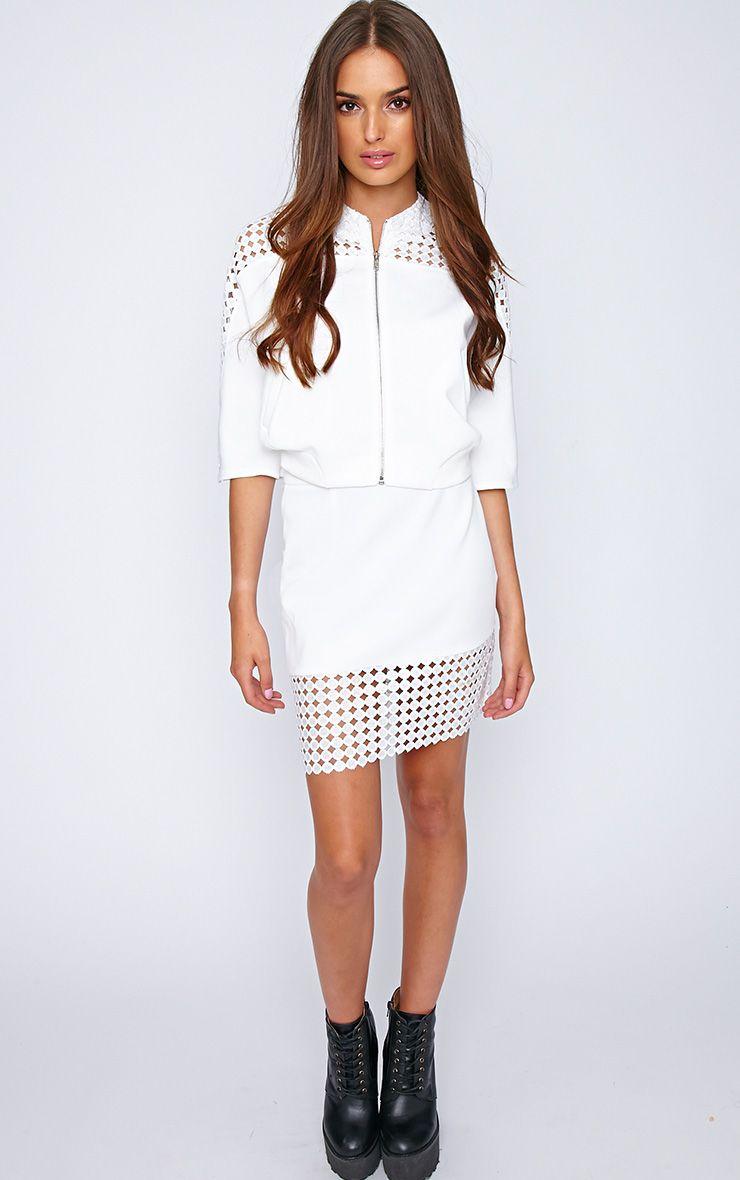 Joni White Crochet Skirt Set  1