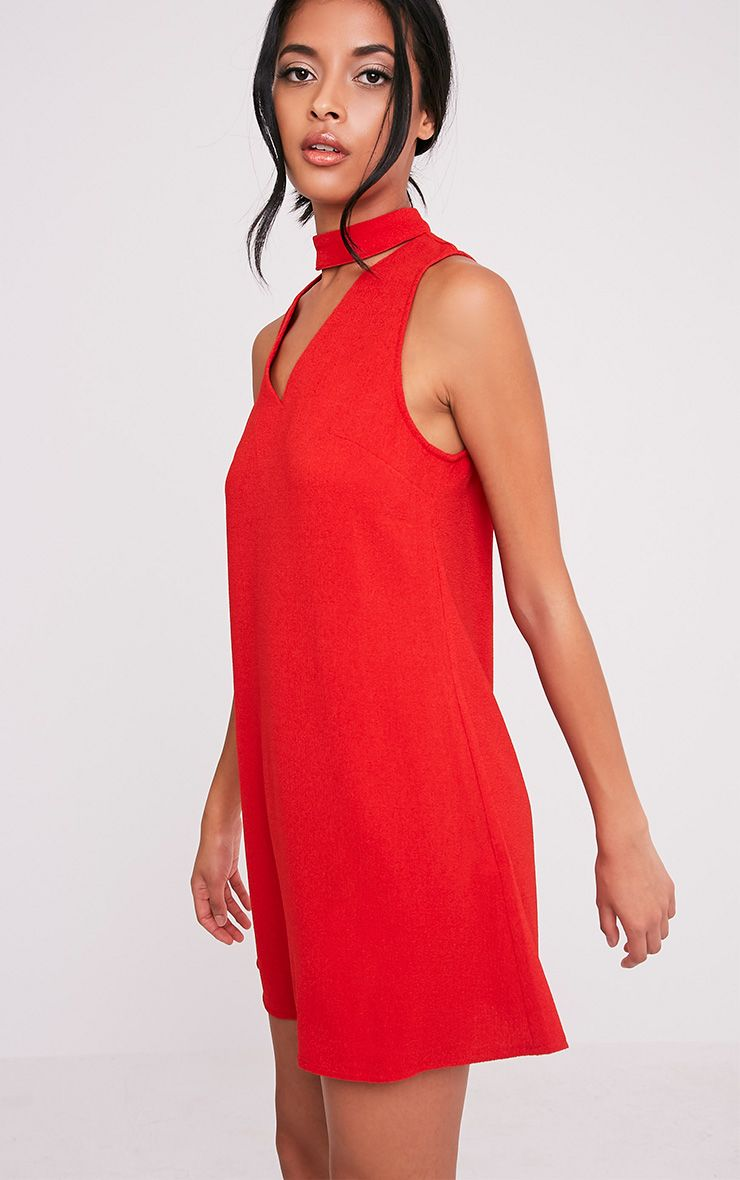 Cinder Red Choker Detail Loose Fit Dress 1