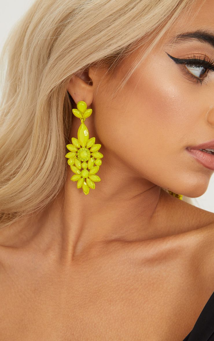 Neon Yellow Statement Jewel Drop Earrings