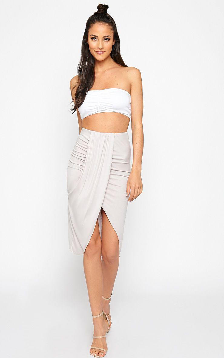Ivana Grey Drape Midi Skirt 1