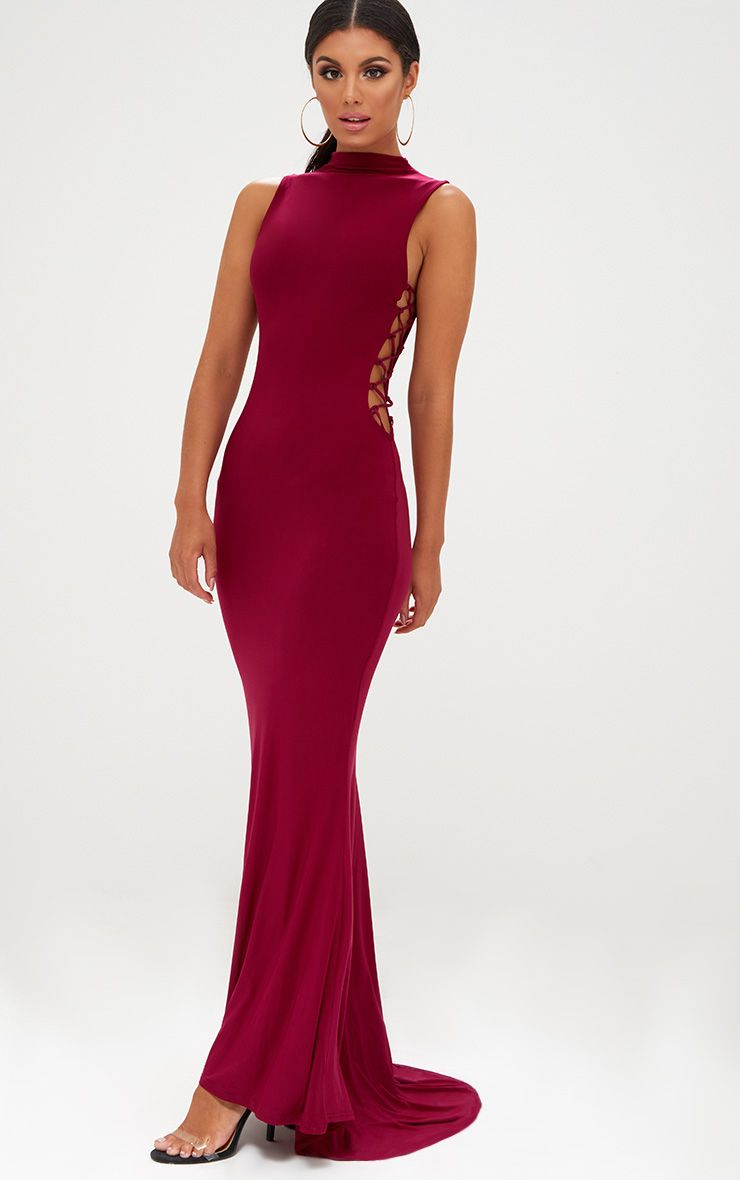 Burgundy Lace Up Side Maxi Dress