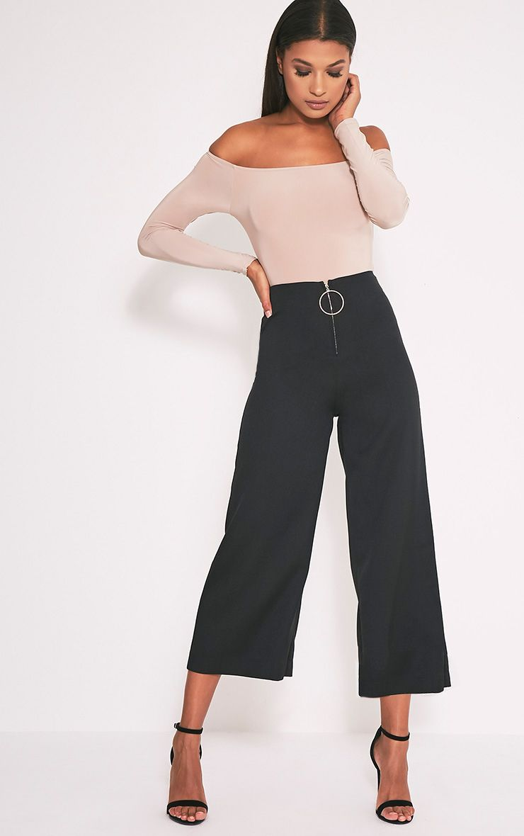 Wilma Black Oversized Ring Zip Culottes 1