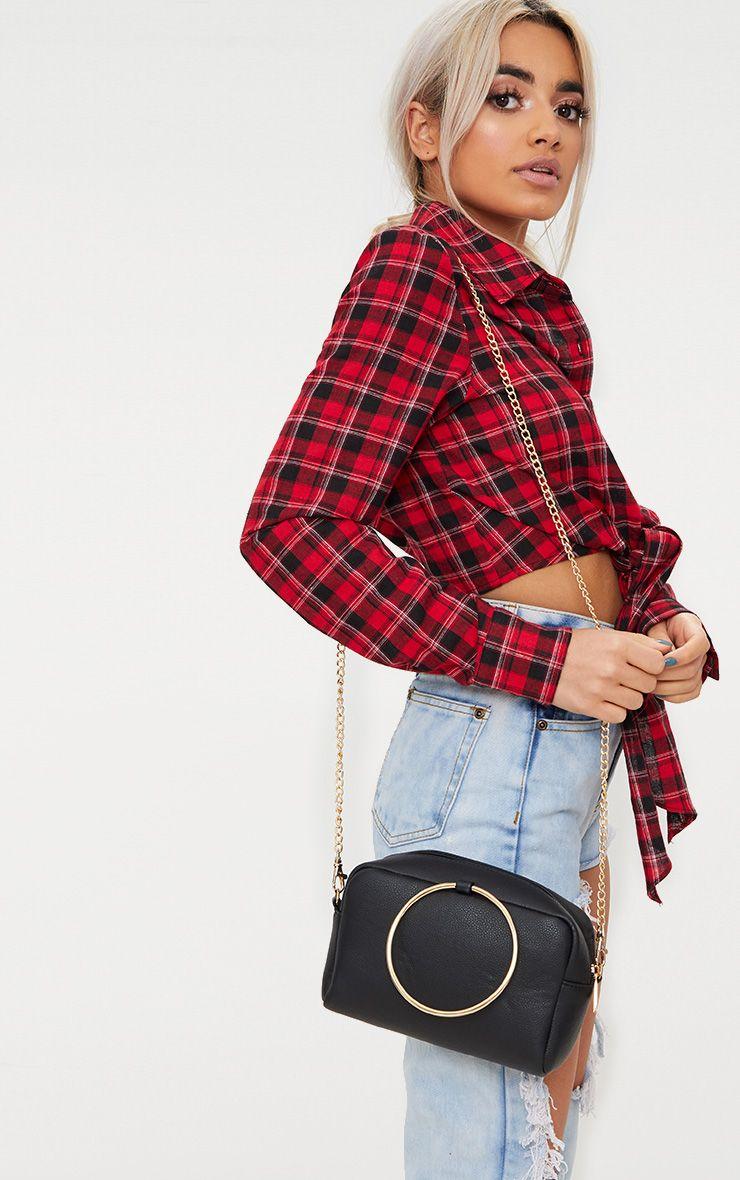 Black Metal Ring Handle Shoulder Bag