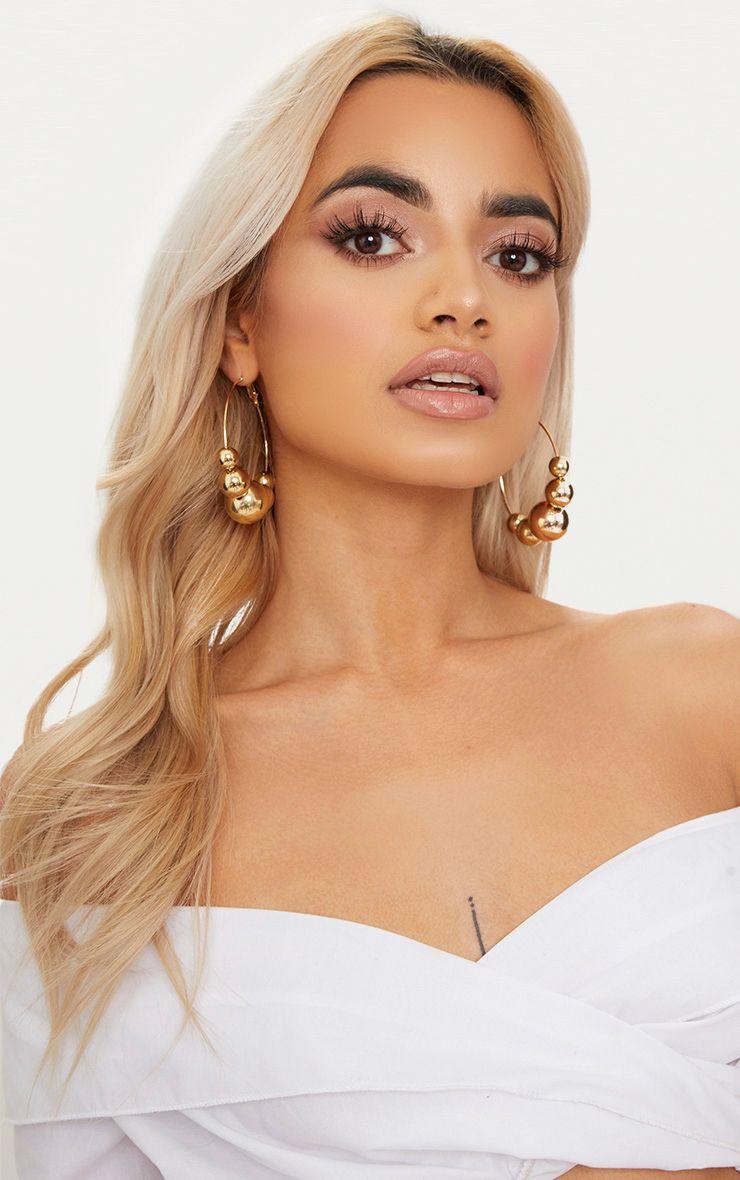 Gold Ball Trim Hoop Earrings 1