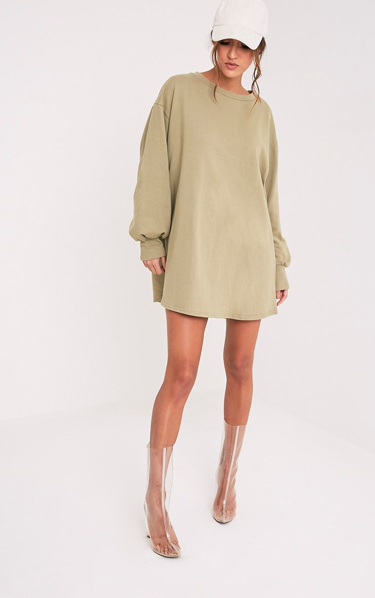 Sage Green Oversized Sweater Dress 1