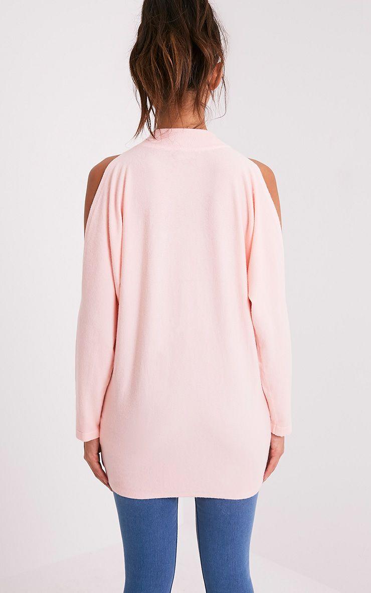 Shela pull rose pâle tricoté fin à épaules découvertes 2