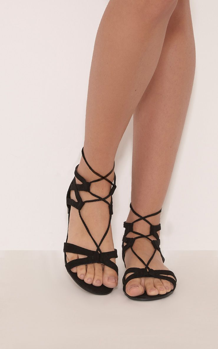 Lauri Black Faux Suede Lace Up Sandals 1