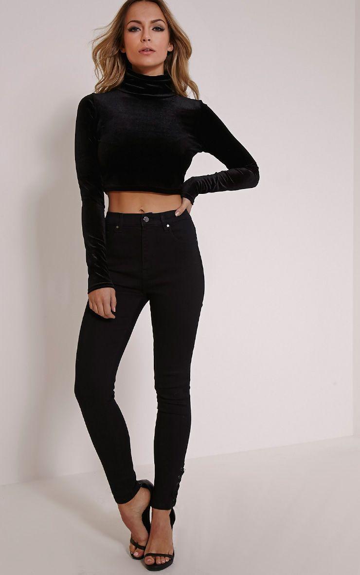 Desy Black Lace Up Ankle Jean 1