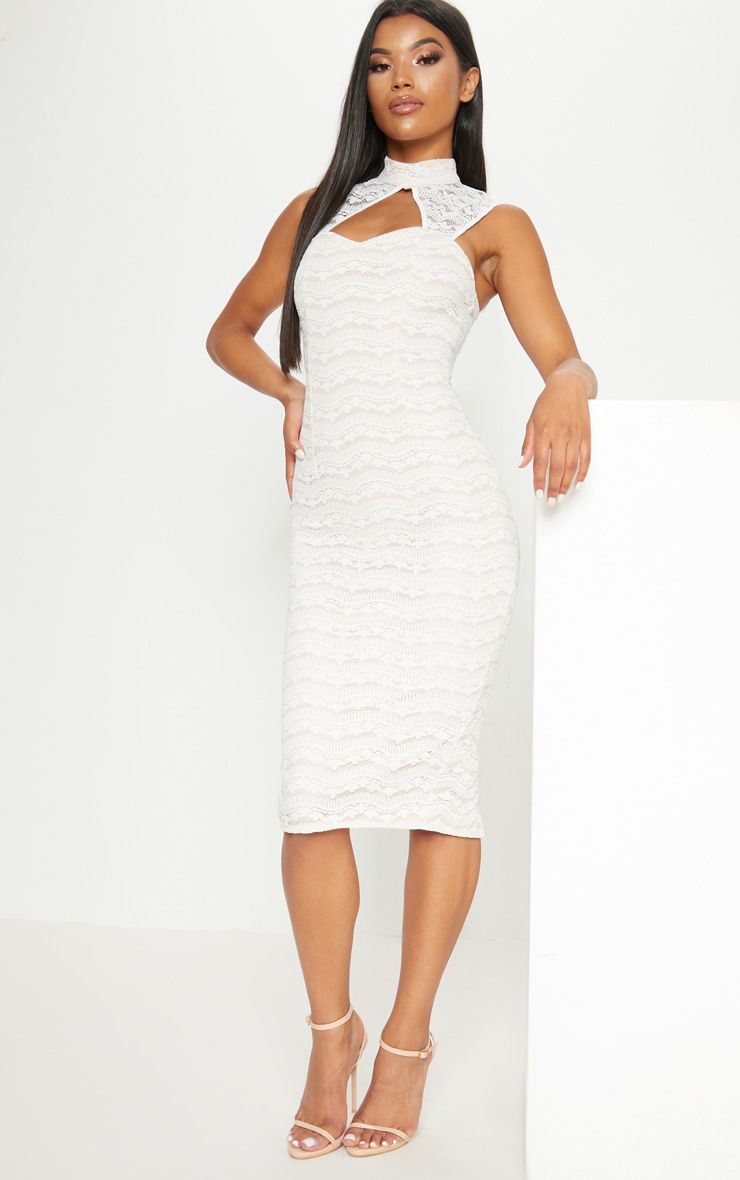 White Lace High Neck Cut Out Detail Midi Dress