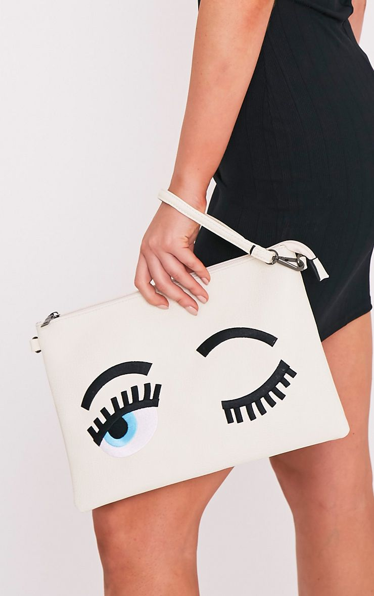 Floanna Cream Eye Detail Clutch Bag 1