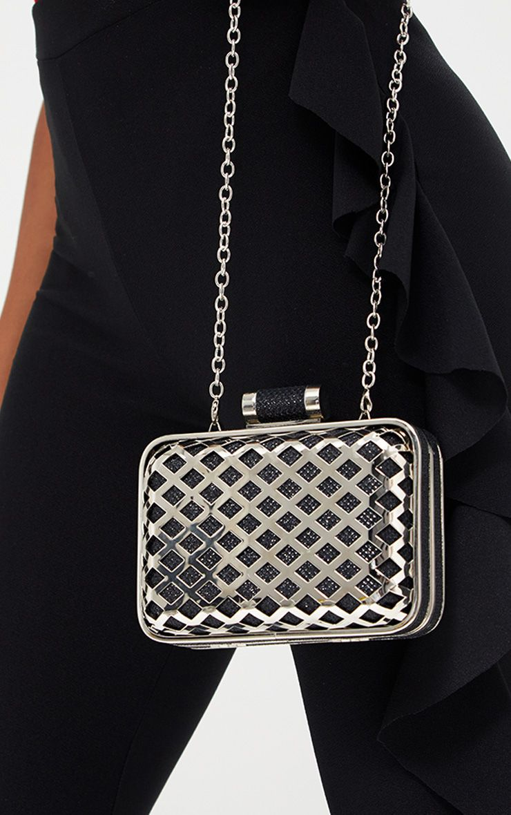 Black Metal Cage Clutch