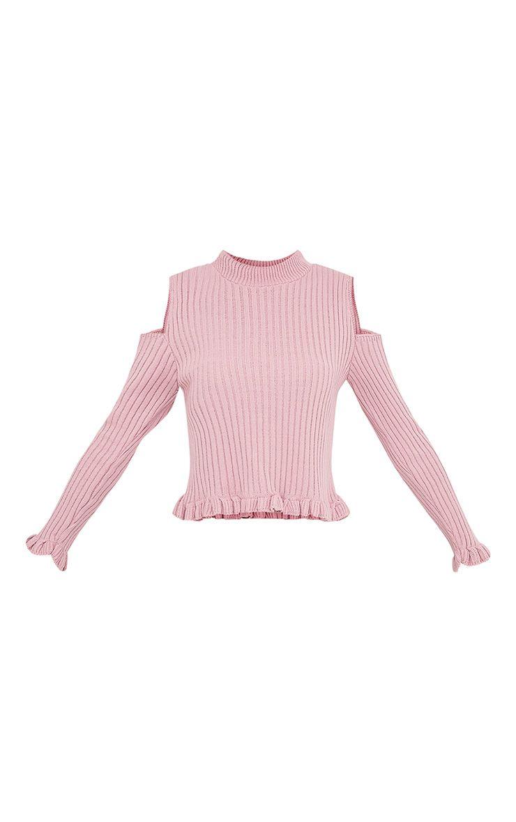 Sophiann pull détail ruches épaules dénudées blush 3