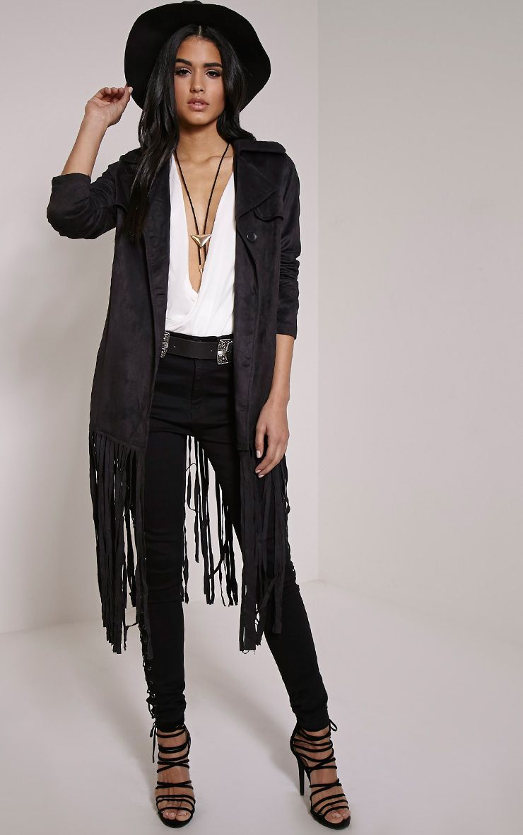 Jessica Black Fringe Trim Trench Coat 1