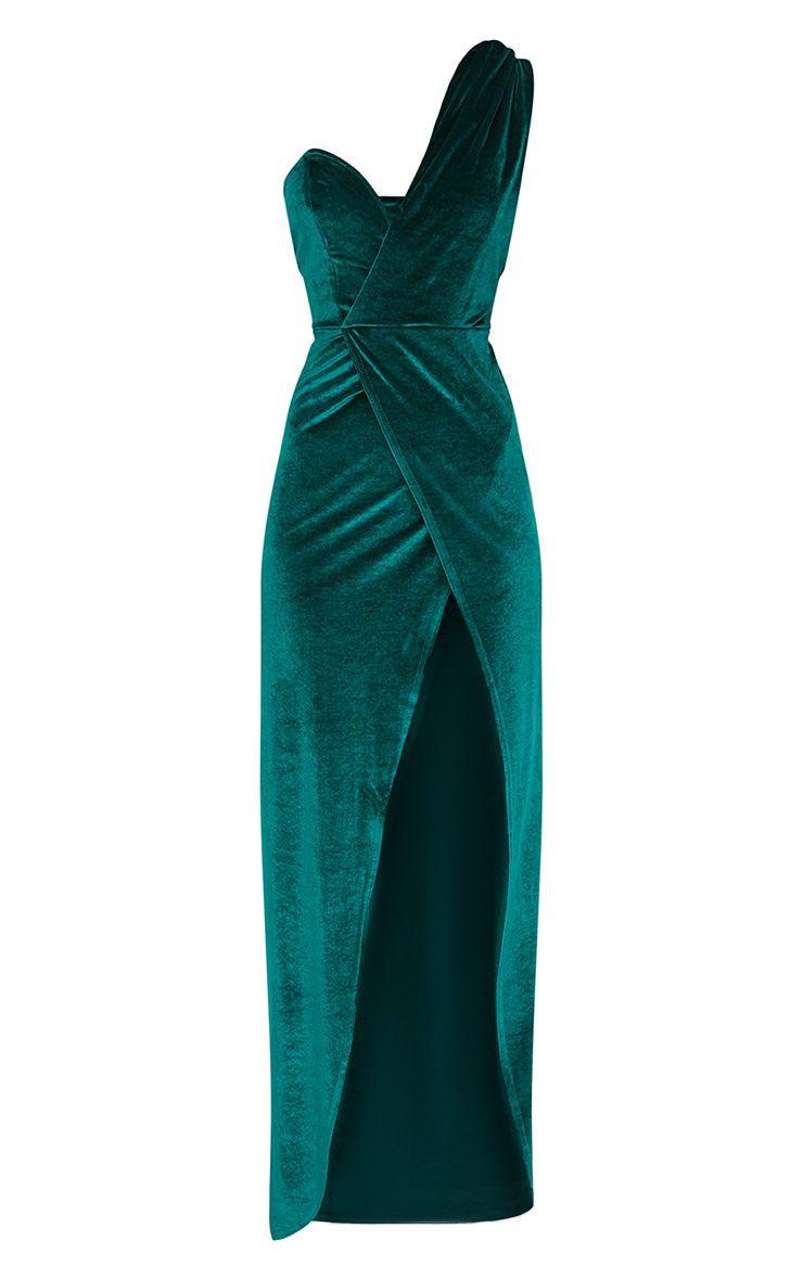 Emerald Green Velvet Wrap One Shoulder Extreme Split Maxi Dress ...